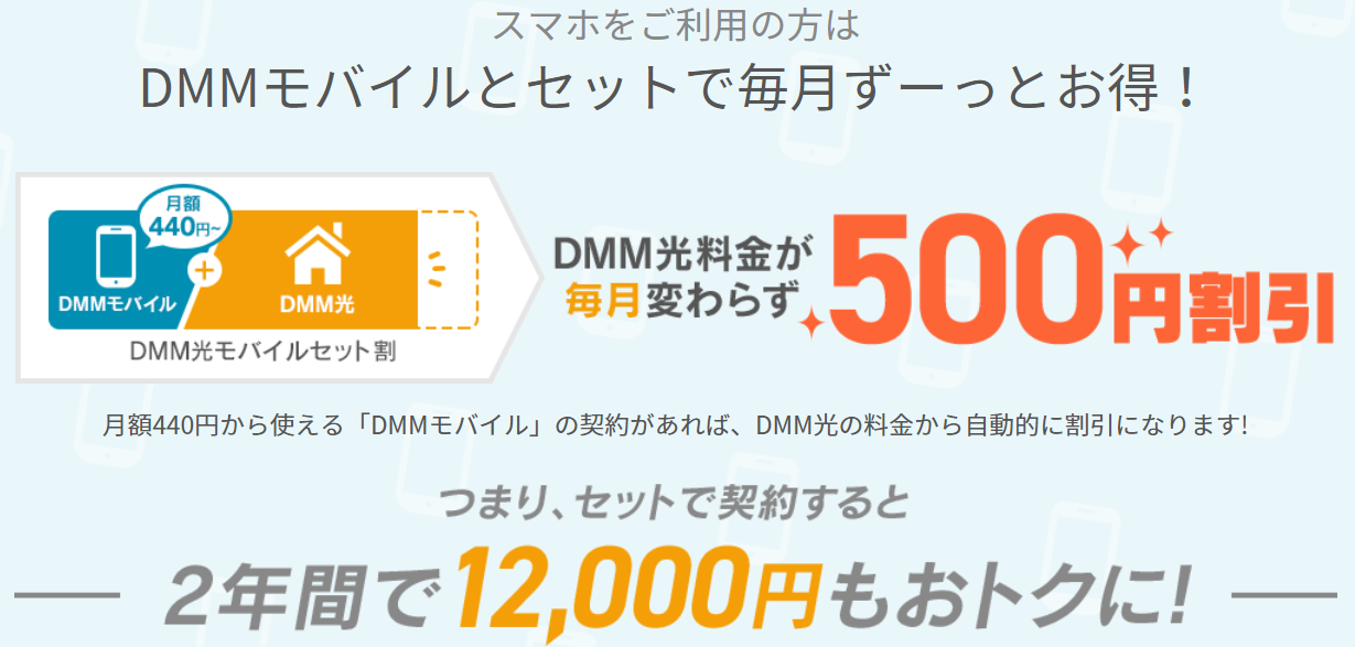 DMM光mobileセット割内容